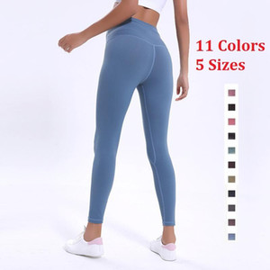 Hottest LU-32 Solid Color Women yoga pants High Waist Sports Gym Wear Sexy Running Leggings Elastic Fitness Lady Overall Full Tights Workout