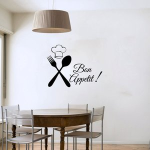 Cutlery Chef Bon Appetit Wall Decals Removable Art Vinyl Home Decor Black Sticker On Wall Decoration
