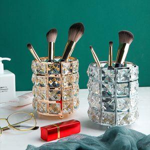 Nordic Art Luxury Glass Lipstick Makeup Pen Holder Simple Home Finishing Jar Sundries Storage Bucket Home Decoration Accessories
