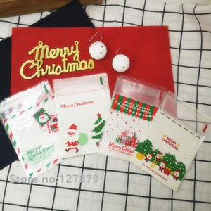 Christmas Santa Claus Self-adhesive Cookies Packaging Bags XMAS Plastic Gift Bags Biscuits Snack Baking Packing