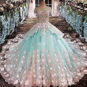 2019 New Mint Green Ball Gown Quinceanera Abiti Jewel manica corta Appliques rosa abiti da 15 anos Prom Party Gowns Per Sweet 15