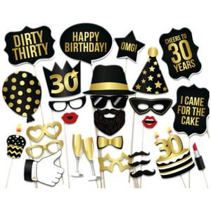 Maschere 28PCS / Lot 30 40 ° 50 ° compleanno di favore della festa Photo Booth Props Targhe Segni
