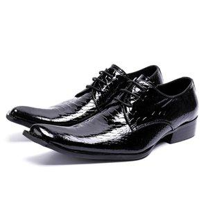 Luxe Pointu Toe Lacets Homme Chaussures De Noce Chaussures En Cuir Verni Alligator Derby Piste Hommes Chaussure Rocker