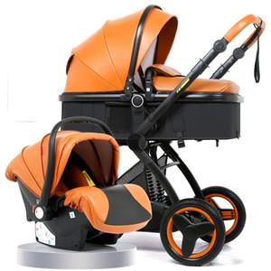 La canasta de cochecito de bebé de alto paisaje puede sentarse reclinable cochecito de bebé plegable bidireccional 3 en 1 cochecito