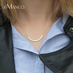 e-Manco Minimalist Arc Shape 925 Sterling Silver Pendants Necklaces For Women Fashion Jewelry Choker Necklace Gold Color Jewelry