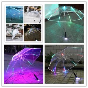 Heiße LED Regenschirm Bunte Blinklicht Licht transparente freie Regenschirme Kinder Frauen Lang Griff Werbung Regenschirme Boutique E3403