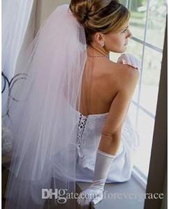 Nuovo 2T bianco / avorio nuziale di lunghezza del gomito Bordo tagliato velo da sposa con il pettine tulle veli da sposa