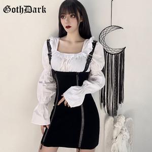 Dark goth punk Grunge abiti gotici Harajuku Vintage Primavera 2020 Pin fibbia Strap EGirl Emo Y2K Estetica Chic abbigliamento femminile