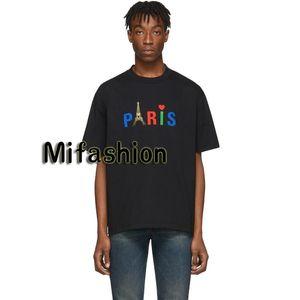 2020 Luxury Европа Франция Париж Эйфелева башня Многоцветный Печать Красное сердце Tshirt Мода Мужчины Женщины высокого качества футболка Casual Cotton Tee