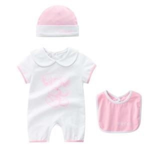 2019 nuevos mamelucos del bebé niño recién nacido de la muchacha del verano ropa ropa linda Escalada impreso historieta del mameluco del mono