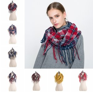 Lady Plaid Tassel Infinity Scarves Women Warm Winter Check Multicolor Loops Scarves Fashion Neck Shawl Pashmina TTA1570