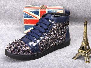 Горячие Продажа-мужские и женские кожаные Martin моды Nail Red Кроссовки Rivet Обувь повседневная обувь Код 36-46