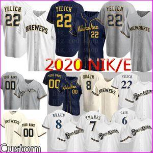 2020 NKE Personalizado 22 Christian Yelich Jersey Ryan Braun Robin Yount personalizado Eric Thames Travis Shaw Lorenzo Cain Lucroy Hiura Baseball