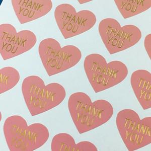 600PCS / Lot Danke LabelsThermoprinting rosa Farbe Herzförmige Aufkleber-Aufkleber Selbstklebende Aufkleber für Auto / Gift / Schale / Box / Spielzeug