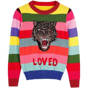 Tiger Sequin Femmes Pull à rayures couleur overs piste Lady d'hiver pull en tricot Vêtements Jumper