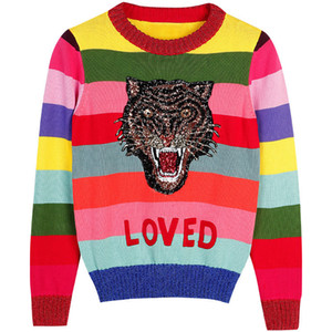 Sequin Tiger Women Knitted Lady Sweaters Winter Runway Color Striped Jumper Pullovers Sweater Clothes Ihevc