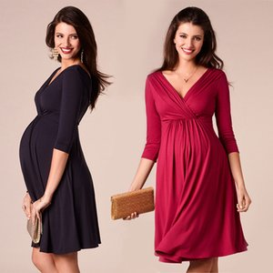 Breastfeeding Dresses Maternity Clothes for Pregnant Women Clothing Solid V-neck Pregnancy Dresses Mother Wear Evening Dress CX200530