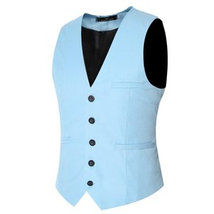 Polyester Plus Size 6xl Fashion Slim Fit Sleeveless Mens Wedding Waistcoats 8 Colors Solid Waistcoat Men Dress Vests Breathable