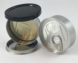 100 ml Akıllı tomurcuk tasarım yüzük çekme kutuları kuru ot kavanoz konteyner çocuk dayanıklı dayanıklı koku geçirmez özel baskı etiketleri kolay açık metal teneke hava geçirmez