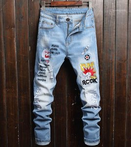 Holes Jeans Slim Letter Print Denim Pants Fit Multi Pocket Jean Male Clothing Mens Designer Ripped