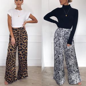 Calças New Sexy Mulheres Sexy Leopard Impresso Palazzo perna larga calças compridas soltas calças largas Casual Calças