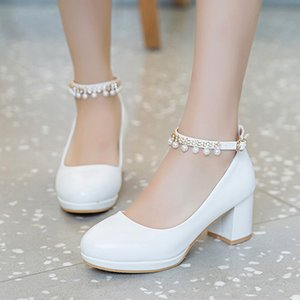 White Women Wedding Shoes Crystal Preal Ankle Strap Bridal Shoes Woman Dress Shoes Seay Pumps Sweet Party 6933