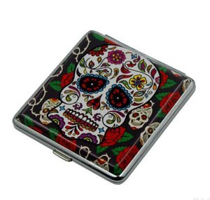Скелет Pattern портсигар Череп печать Дело Двухсторонний портсигар Box для мужчин курящих Box