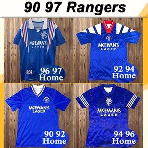 90 97 Glasgow Rangers Retro Albertz GASCOIGNE Mens Futebol Rangers McCoist Laudrup FERGUSON Início Futebol camisa do uniforme de mangas curtas