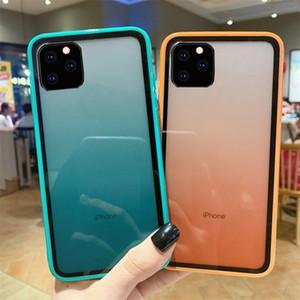 Los casos de silicona gradiente de acrílico color del arco iris para el iPhone 11 Pro Max 6 7 8Plus X XR XS MAX