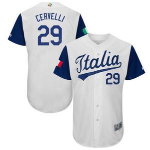 팀 이탈리아 2017 월드 베이스볼 클래식 (WBC) 유니폼 이탈리아 29 프란시스코 서 벨리 저지 남성 색상 흰색 스포츠 팬 우수한 품질
