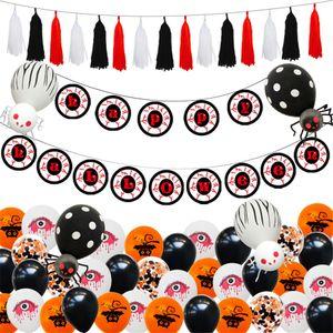 Juego de globos de Halloween Horror Eye Pull Flag Látex Globos de papel de aluminio Decoración de fiesta de Halloween Festival Hangings JK1909