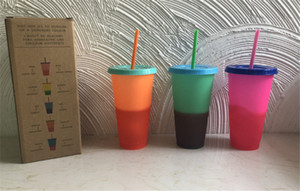 710ML Thermochromiques couleur Coupe Changer plastique tasse bonbons Couleurs Drinking réutilisables Gobelets avec couvercle et paille 8