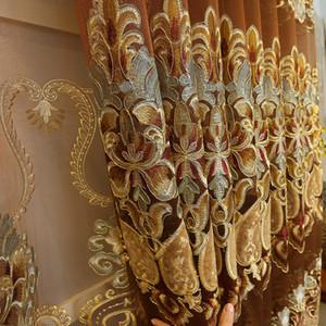홈 장식 룸 침실 쉬어 / 왈레 식사 생활을위한 유럽 로얄 골드 커튼 Enbroidered 커튼