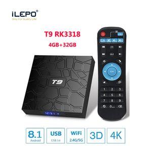 Yeni T9 Android Tv Box 8.1 4GB 32GB akıllı android tv kutusu akışı kutuları Bluetooth WiFi 1000M Lan Rockchip RK3318 dört çekirdekli