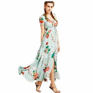 Floral Robes longues Femmes d'été Maxi Dress Sundress Button Up de Split Imprimer Flowy Party robes de soirée Robes