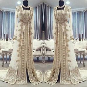 Moroccan Caftan Kaftan Vestidos Dubai Abaya Árabe mangas compridas incrível do bordado do ouro Square-Neck Prom vestidos ocasião formal