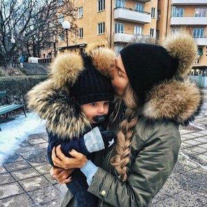 Moda Pai-filho Caps bebê Pompon chapéu do inverno dobro da bola da pele Chapéu mãe Crianças infantil bonito Quente Gorro Cap Beanie recém-nascido