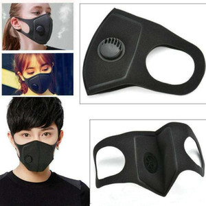 Respiración reutilizable máscaras negras de la válvula anti-alérgicas Máscaras PM2.5 bucales anti-polvo Anti polución máscara máscaras de tela
