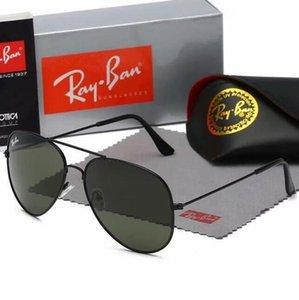 AviadorRaioBans Sunglasses Pilot Banda UV400 Proteção Vintage Mens Womens Homens Mulheres Ben Wayfarer óculos de sol com caixa 0025