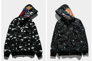 Hohe Qualität Ape Männer Frauen Hip Hop Leucht Stickerei Sweatshirts Shark Männer Wolle Fleece Schatze Outfit Hoodies Jacke Mantel
