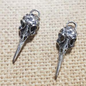 DIY серьги шарма аксессуары античная бронза / Antique Silver Skull Bird Head Charm Результаты 13x41MM 20PCS / серия