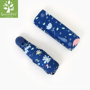 Kocotree Mini Sonnenschirm Winddicht Ultraleichte Tasche Fünf Taschenschirm Regen Frauen Romantische Blumen Stil Anti UV Sonnenschirm