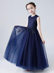 사랑스러운 네이비 블루 Tulle 보석 Applique 소녀의 미인 대회 드레스 꽃의 소녀 드레스 공주 파티 드레스 Child Skirt Custom Made 2-14 H312197