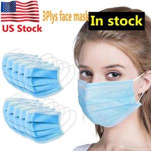US stock 3 ply descartável Designer máscara facial azul Dustproof Anti Poluição não tecido 3ply Anti Poeira PM2.5 Orelha-laço máscara 3 Camadas Máscaras