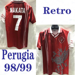 1998 1999 توب بيروجيا ريترو كرة القدم جيرسي 98 99 Associazione Calcistica Perugia Calcio NAKATA RAPAJC PETRACHI vintage classical football shirt
