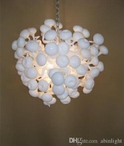 Free Shipping White Art Murano Glass Chandelier Wedding Decor Style Hand Blown Glass Small White Chandelier Light-LR055