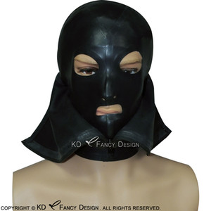 Black Sexy Latex Hoods With Eyes Mouth Nostril Open With Zipper At Front And Back Rubber Masks Plus Size TT-0177