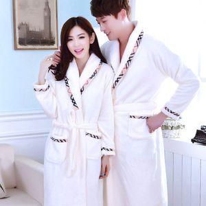 Vente en gros - Nouveaux couples automne et hiver flanelle épaissie chemise de nuit chemise de nuit Plus Size peignoir peignoir pour hommes femmes