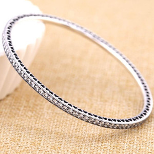 Argent 925 Bracelet Pave Twinkling Forever Love coeur avec cristal Bracelet Fit Charm Perle Diy Fine Jewelry
