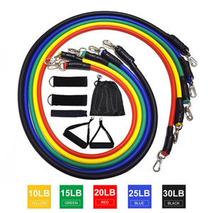 11pcs set Pull Rope Men Fitness Exercises Equipment set 100 pounds tension Latex Tube Resistance Bands For Body Training Workout